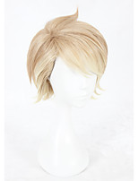Perucas sintéticas Sem Touca Curto Liso Cor de Linho Faux Locs Wig Peruca para Cosplay Perucas para Fantasia
