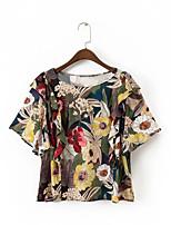 Для женщин На выход На каждый день Лето Осень Блуза Круглый вырез,Секси Очаровательный Уличный стиль Полоски Цветочный принтС короткими