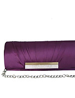 Women Bags Fall All Seasons Silk Evening Bag with Rhinestone Pleated for Wedding Red Violet