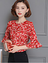 Women's Going out Casual/Daily Cute Summer Blouse,Floral Round Neck Half Sleeve Others