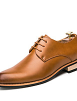 Для мужчин Свадебная обувь Формальная обувь Лето Осень Дерматин Для вечеринки / ужина Шнуровка На низком каблуке Черный Винный Темно-русый