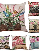 Set of 6 Floral Bag Linen Cushion Cover Home Office Sofa Square Pillow Case Decorative Cushion Covers Pillowcases Without Insert(18*18Inch)