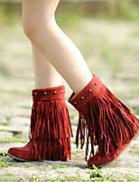 Women's Boots Comfort PU Fall Winter Casual Comfort Ruby Brown Yellow Beige Black 1in-1 3/4in
