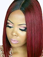 Ombre T1B/Burgundy Brazilian Virgin Hair Bob Wigs Straight Lace Front Human Hair Wigs Short Virgin Remy Hair Wig for Woman