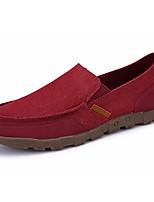 Для мужчин Мокасины и Свитер Для прогулок Удобная обувь Полотно Весна Осень Повседневные На плоской подошве Темно-синий Серый Хаки Вино