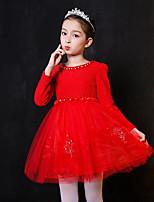 Vestido Chica de Cumpleaños Casual/Diario Vacaciones Un Color Floral Bordado Algodón Poliéster Manga Larga Otoño Invierno