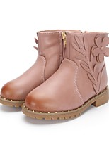 Girl's Boots Fall / Winter Comfort Leatherette Wedding / Outdoor / Party & Evening / Dress / Casual Low Heel Applique / Zipper Pink