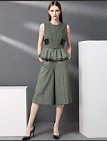 YIPINWAN    Women's Going out Street chic Summer Tank Top Pant SuitsSolid Round Neck Sleeveless Micro-elastic
