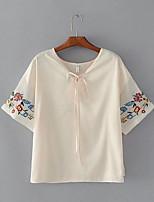 Для женщин На выход На каждый день Лето Осень Блуза V-образный вырез,Секси Очаровательный Уличный стиль Однотонный ВышивкаС короткими
