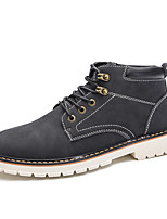 Men's Boots Combat Boots Leather Fall Winter Casual Outdoor Lace-up Flat Heel Brown Gray Black Flat