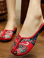 Women's Shoes Fabric Summer Comfort Slippers & Flip-Flops For Casual Black Red