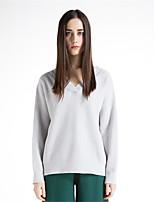 Для женщин На каждый день Простое Короткий Пуловер Однотонный,V-образный вырез Длинный рукав Шерсть Хлопок Полиэстер Осень Зима Толстая
