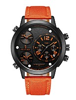 Men's Sport Watch Fashion Watch Japanese Quartz Calendar Three Time Zones Genuine Leather Band Black Blue Red Orange Yellow