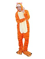 Kigurumi Pajamas Tiger Leotard/Onesie Shoes Festival/Holiday Animal Sleepwear Halloween Fashion Embroidered Flannel Fabric Cosplay With Shoes