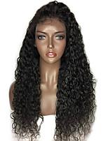 жен. Парики из натуральных волос на кружевной основе Натуральные волосы Лента спереди 130% плотность Волнистые Глубокие волны Loose Curl