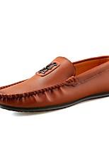Hombre Zapatos de taco bajo y Slip-On Zapatos De Buceo Primavera Otoño PU Casual Tacón Plano Negro Marrón Azul 5 - 7 cms