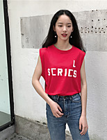 Women's Casual/Daily Street chic Tank Top,Letter Round Neck Short Sleeves Cotton
