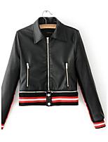 Для женщин На выход На каждый день Осень Зима Кожаные куртки Рубашечный воротник,Простой Уличный стиль Контрастных цветов ОбычнаяДлинный