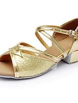 Для женщин Латина Блестки Дерматин На каблуках Концертная обувь На низком каблуке Золотой Менее 2,5 см Персонализируемая
