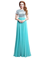 Sheath / Column Jewel Neck Floor Length Chiffon Sequined Rehearsal Dinner Formal Evening Dress with Sequins by Sarahbridal