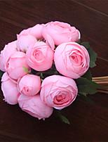 1 Rama Plástico Rosas Flor de Mesa Flores Artificiales