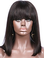 New Arrival Silky Straight Bob 13x6 Lace Front Wig With Bangs Brazilian Human Hair Non-Remy 130 Density 8-16inch For Black Women