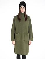 Для женщин На каждый день Простое Длинный Пуловер Однотонный С принтом,Хомут Длинный рукав Шерсть Полиэстер Осень Зима Толстая