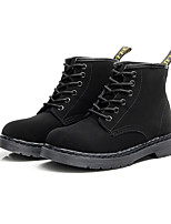 Men's Boots Fashion Boots Bootie Combat Boots Fall Winter Nubuck leather Casual Outdoor Office & Career Lace-up Flat Heel Black Flat