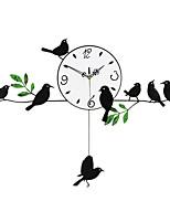Модерн Цветы и растения Животные Праздник Духовное развитие Семья Друзья Мультфильмы Настенные часы,Круглый Новинки Дерево Металл