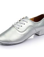 Men's Latin Leatherette Heel Indoor Customized Heel Silver 1