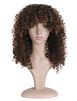 Short Afro Curly Wigs For African American Brown Color Heat Resistant Synthetic Wigs For Black Women