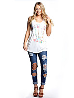 Women's Casual/Daily Street chic Spring Summer Tank Top,Solid Print Boat Neck Sleeveless Cotton Thin