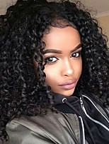 10-26 Inch Human Hair Wigs-Glueless 130% Density Brazilian Virgin Lace Wigs Afro Small Curly Lace Front Wig  with Baby Hair For Black Woman