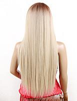 26inch прямой шнурок передний парик kanekalon волокно длинный блондинка ombre синтетический парик