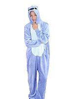 Kigurumi Pajamas Cartoon Festival/Holiday Animal Sleepwear Halloween Blue Pink Fashion Embroidered Flannel FabricCosplay Costumes
