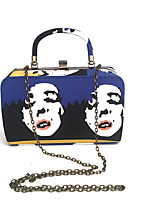 Women Bags Spring Summer Metal Tote with Dyed Metal Chain Chain Stripe for Wedding Event/Party Formal Navy Blue