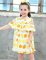 Vestido Chica de Floral Algodón Manga Corta Verano