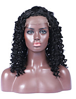 Natural Black Color 100% Unprocessed Kinky Curly Brazilian Human Hair Lace Front Wigs for Black Women 130% Density 16-26 Inches