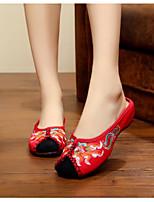 Для женщин Обувь Полотно Лето Удобная обувь Тапочки и Шлепанцы Назначение Повседневные Черный Красный