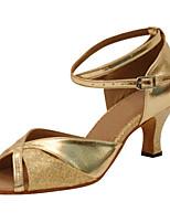 Для женщин Латина Искусственная кожа Сандалии Концертная обувь На шпильке Золотой Серебряный 7,5 - 9,5 см Персонализируемая