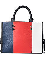 Women Bags All Seasons PU Tote with Zipper for Casual Outdoor Office & Career White Red