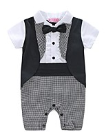 Baby Fashion Plaid/Check Floral / Botanical One-Pieces,100%Cotton Spring Summer Short Sleeve