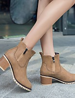 Для женщин Обувь Полиуретан Осень Зима Удобная обувь Обувь на каблуках На платформе Круглый носок С Назначение Повседневные Серый