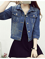 Feminino Jaqueta jeans Para Noite Simples Inverno,Sólido Curto Poliéster Colarinho de Camisa Manga 3/4