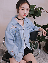 Women's Casual/Daily Simple Fall Denim JacketSolid Print Shirt Collar Long Sleeve Long Polyester