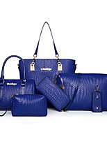 Women Bags All Seasons PU Bag Set with Zipper for Casual Outdoor Office & Career Blue White Black Red Fuchsia