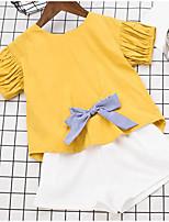 Ensembles Fille Couleur Pleine Coton Polyester Eté Manches Courtes Ensemble de Vêtements