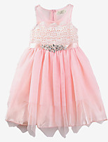 Girl Summer Dresses Sleeveless Cotton Pink Chiffon Princess Children Dress Baby Clothes