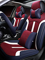 Car Seat Cushion Linen Leather Seat Cover Four General Seat Surrounded By Five Seat 2 Headrest 2 Waist By Giving The Wheel Sets Red