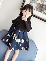 Vestido Chica de Estampado Algodón Poliéster Manga Larga Primavera Otoño